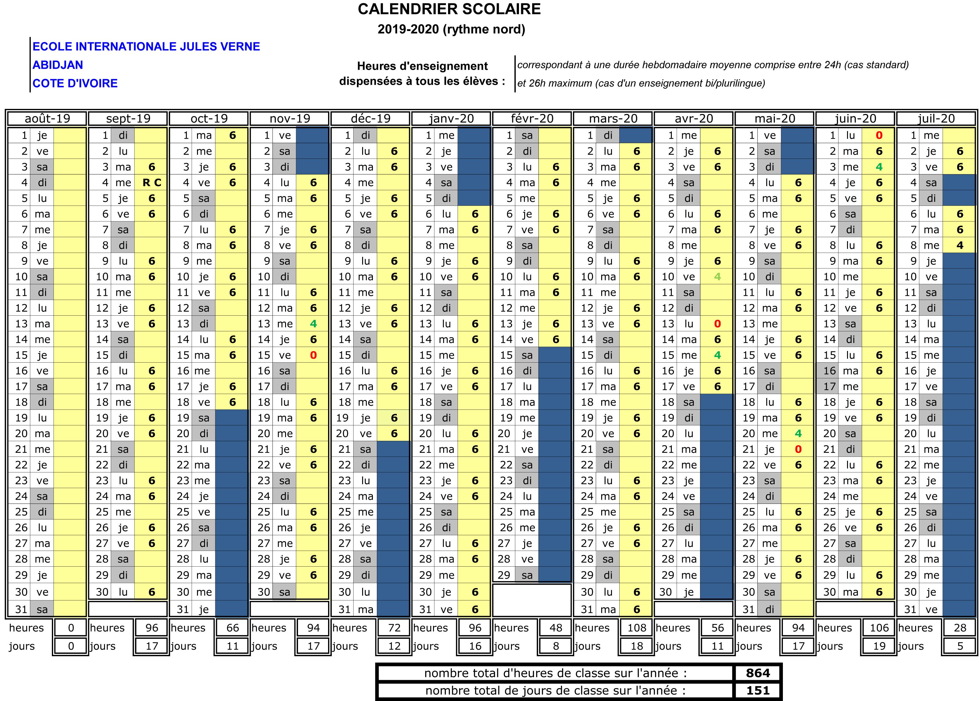 Calendrier Pedagogique.Informations Generales Ecole Internationale Jules Verne D